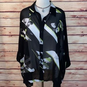 🆕 Lane Bryant Sheer Black/Lime Dolman Blouse